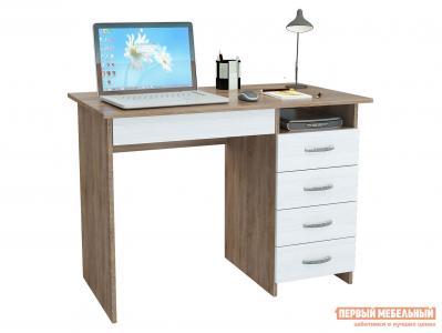 Компьютерный стол  письменный Милан-1 (0120) Дуб сонома / Белый МФ Мастер. Цвет: светлое дерево