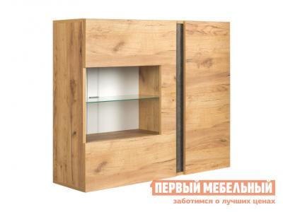 Шкаф-витрина  Шкаф Арчи 10.60 навесной Дуб золотой craft / Камень темный Моби. Цвет: светлое дерево