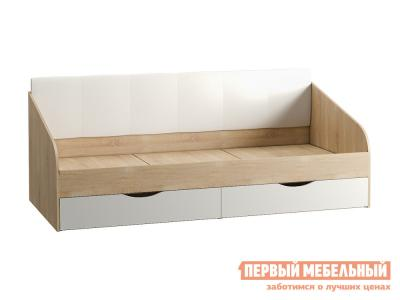 Детская кровать  тахта Линда 90*200 01.60 Дуб Сонома / Белый (текстура дерева) Белый, экокожа Моби. Цвет: светлое дерево