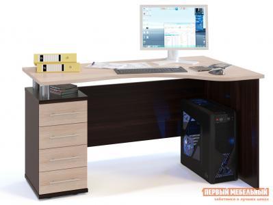 Письменный стол  КСТ-104.1 Корпус Венге / Фасад Беленый дуб, Левый Сокол. Цвет: темное-cветлое дерево