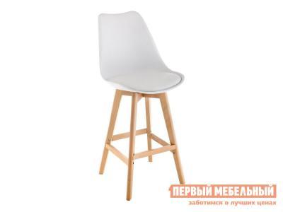 Барный стул  Burbon Белый, пластик / экокожа Натуральный, дерево Лайфмебель. Цвет: белый