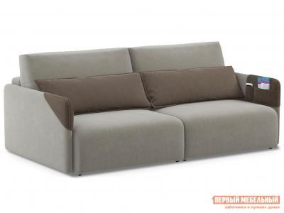 Прямой диван  Граус Люкс Серый, велюр / Коричневый, искусственная замша Живые диваны. Цвет: серый