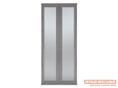 Распашной шкаф  2-х дверный Парма НЕО Лиственница темная / Экокожа дила, С двумя зеркалами КУРАЖ. Цвет: серый