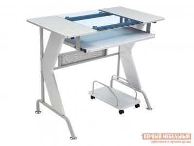 Компьютерный стол  Uliss Серый, металл / МДФ Голубой, стекло Лайфмебель. Цвет: серый