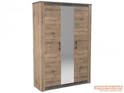 Шкаф распашной  3-х дв. Денвер Дуб веллингтон / Камень темный, С дополнительными полками, Высота 2300 мм СБК. Цвет: серый