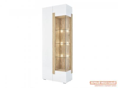 Шкаф-витрина  1701.М3 Дуб Сонома / Белый глянец, С подсветкой Милана. Цвет: белый