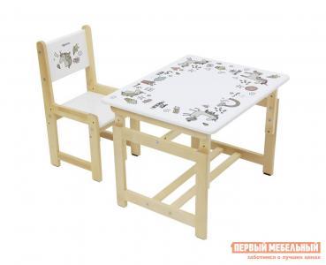 Столик и стульчик  Комплект растущей детской мебели kids Eco 400 SM 68х55 см Единорог Polini. Цвет: белый