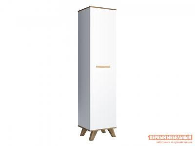 Распашной шкаф  400 Вега Скандинавия Дуб Каньон / Белый глянец КУРАЖ. Цвет: белый