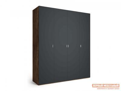 Распашной шкаф  4-х дверный Вега Бавария Антрацит, Без зеркала, топа-накладки КУРАЖ. Цвет: серый