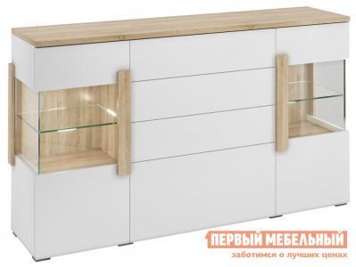 Комод  2 двери 4 ящика 1709.М3 Дуб Сонома / Белый глянец, С подсветкой Милана. Цвет: белый