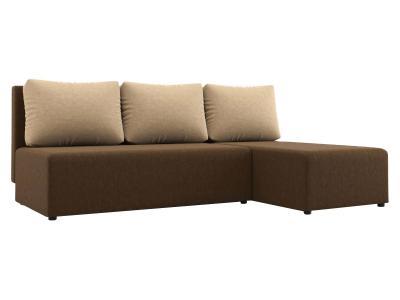 Угловой диван  Комо Коричневый / Бежевый, микровелюр Столлайн. Цвет: коричневый