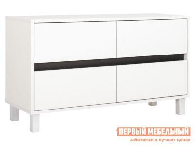 ТВ-тумба  ТВ тумба Квадро 13.277 4 ящ Белый РЕ Шагрень Моби. Цвет: белый