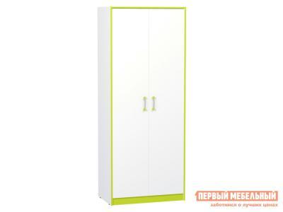 Детский шкаф  Альфа 13.42 Лайм зеленый / Белый премиум Моби. Цвет: белый