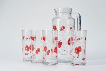 Набор кувшин + стаканы Серенейд Рэд Pasabahce