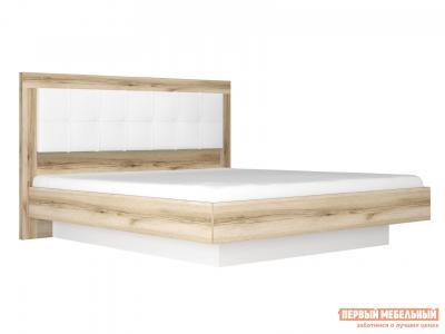 Двуспальная кровать  с подъемным механизмом Вега Скандинавия Дуб Каньон / Белый глянец, 180х200 см КУРАЖ. Цвет: белый