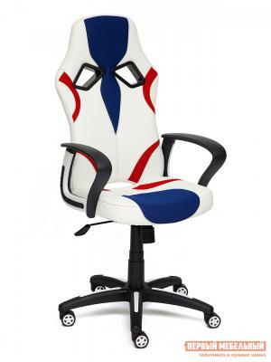 Игровое кресло  Runner Иск.кожа белая / Ткань синяя/красная, 36-01/10/08 Tetchair. Цвет: белый