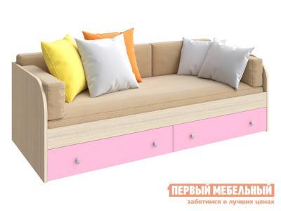 Детская кровать  ODNOYAR Дуб Молочный / Розовый РВ Мебель. Цвет: розовый