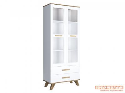 Шкаф-витрина  Вега Скандинавия 800 Дуб Каньон / Белый глянец КУРАЖ. Цвет: белый