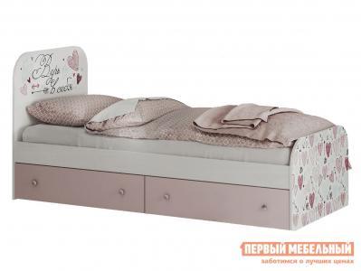 Детская кровать  Малибу 2 с ящиками Ясень белый / айскрим фотопечать BTS. Цвет: белый