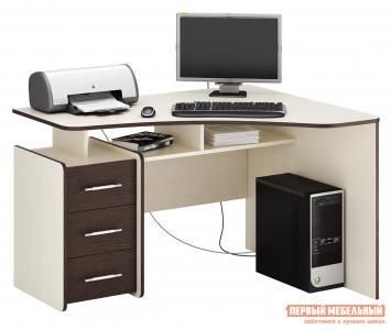 Компьютерный стол  Триан-5 Дуб Молочный / Венге, Правый МФ Мастер. Цвет: темное-cветлое дерево