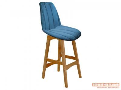 Барный стул  SHT-ST29-С1/S65-1 Морская глубина, микровелюр / Светлый орех, массив бука Sheffilton. Цвет: синий