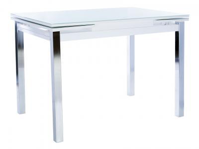 Кухонный стол  раздвижной Leset Париж 2Р Хром / Стекло белое Мебель Импэкс. Цвет: белый