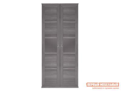 Распашной шкаф  2-х дверный Парма НЕО Лиственница темная / Экокожа дила, С глухими фасадами КУРАЖ. Цвет: серый