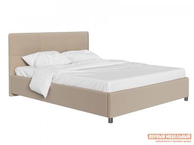 Двуспальная кровать  с мягким изголовьем Агата Кремовый, велюр, 180х200 см Первый Мебельный. Цвет: бежевый