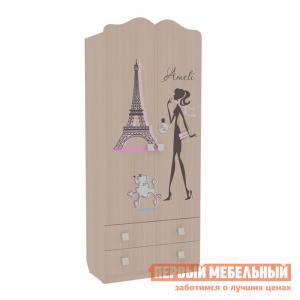 Шкаф детский  Амели комбинированный (с ящ. 2-створчатый) Дуб Млечный Мебельсон. Цвет: светлое дерево