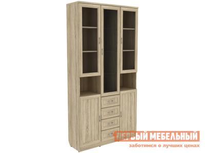 Шкаф-витрина  Мерлен 210 с ящиками Дуб Сонома Уют сервис. Цвет: светлое дерево