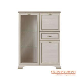 Шкаф-витрина  Шкаф низкий 1 стеклодверь Сиена Бодега белый, патина золото, Со стеклополками КУРАЖ. Цвет: светлое дерево